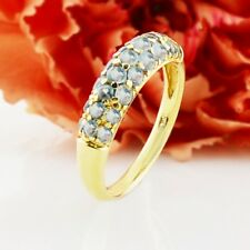 10k Yellow Gold Estate Blue Topaz Ring Size 8.25