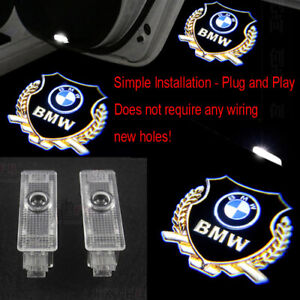 2X Gold LED Laser Welcome Projector Logo Ghost Shadow Car Door Light For BMW HD