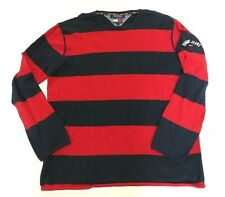 Vtg Tommy Hilfiger Red & Blue Striped Sweater Men's Size Large Made in Hong Kong