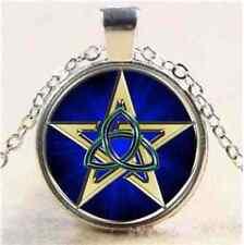 Wicca Pagan Pentacle Triquetra Pentagram Amulet Talisman Silver Necklace & Pouch