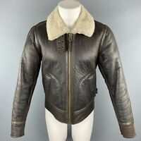 VINCE Size S Brown Full Zip Shearling Jacket