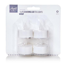 White Battery Operated LED Flickering Tea Lights / Candles Pack 4