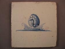 Antique Dutch Delft Tile peacock duck bird rare 17th century -- free shipping