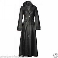 Genuine Cow Leather Coat Women Steampunk VAN HELSING Gothic Stylish Trench Coat
