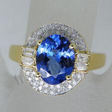 Solid 14k Yellow Gold Natural Diamond Blue Tanzanite Wedding Engagement Ring