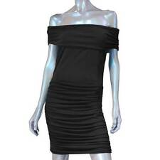 Rock Republic Black Off Shoulder Ruched Body Con LBD Dress XS CLEARANCE SALE