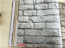 Light Grey Rustic Stone Slate Wallpaper 3D Effect Cafe Restaurant Wall Decor
