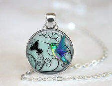 Hummingbird Jewelry-Blue Hummingbird 25mm Necklace-Includes 18 Chain