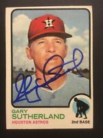 Gary Sutherland Astros Signed 1973 Topps Baseball Card #572 Auto Autograph
