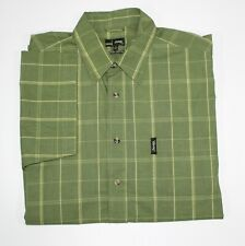 JEEP Mens Shirt Size M Short Sleeve Cotton Green Check Button Front