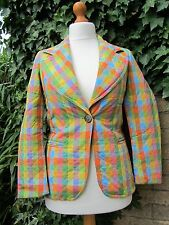 Jaeger Ladies Multi-Coloured Bright Quilted Vintage Padded Jacket Size 10