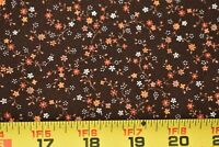 By 1/2 Yd, Vintage, Orange Rust & White Calico on Brown Quilt Cotton, P506