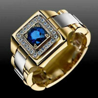 Two Tone 925 Silver & Gold Plated Rings for Men Blue Sapphire Ring Size 6-14