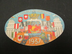 Hotel Apollo, Paris, 1937 Exposition International Luggage Sticker    yu5