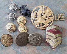 USA Collection of 12 Vintage USA Military Metal Buttons & Badges