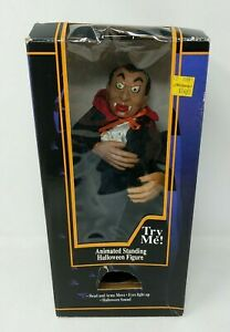 1996 Gemmy Halloween Animated Vampire Dracula Lights Sounds Moves VTG Working