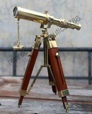 Nautical Brass Telescope With Wooden Tripod Stand Collectible Desk Decor