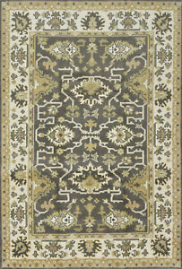 Oushak 6'x9' Grey Wool Hand-Knotted Oriental Rug