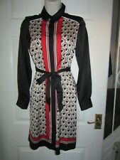 BNWT UK 6 LIPSY Dress Shirt Style Geometric Long Sleeve 70s Style Belt Summer