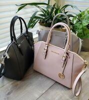 Michael Kors Large CIARA  Top Zip Leather Satchel Crossbody Bag