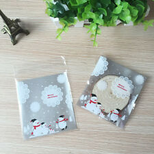 SN_ QA_ 100Pcs Christmas Snowflake Snowman Adhesive Cookie Candy Package Gift