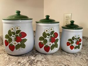 Vintage McCoy Pottery Strawberry Canister Set With Lids