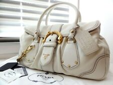 RRP $2160 PRADA Vintage Cervo Animalier White Leather Hand Bag Made In Italy