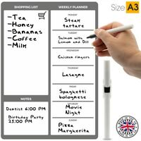 A3 Grey Magnetic Weekly Meal Planner by The Magnet Shop®