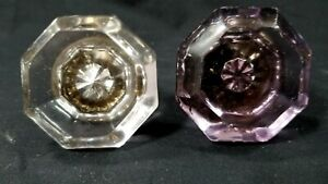 Antique Door Hardware TWO CRYSTAL GLASS KNOBS Eight Points NO DAMAGE Amethyst