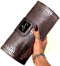 LIPSY Womens SILVER SNAKESKIN CLUTCH BAG Handbag Shoulder Faux Leather Metallic