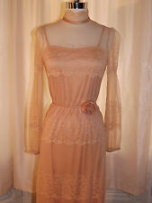 Vtg 1960s 70s Beautiful Dainty Lace Formal Dress Sz S Edwardian Style Elegant