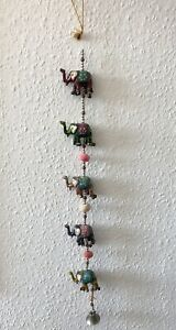 WIND CHIMES STRING OF ELEPHANTS BRASS BELL MOBILE CHIME INDIAN HANGING