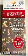Beatsync Sound Activated String Lights 50 White LEDS New in Box