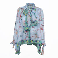 Occident Womens Floral Print Chiffon Tops Shirt Bow Ties Long Puff Sleeve Blouse