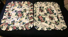 Waverly Pleasant Valley Ruffled Pillow Shams X 2 Standard Grapes Floral Vines