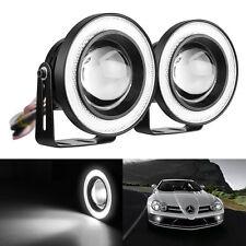 "3"" Motorcycle Car LED Angel Eyes Headlight Turn Signal Fog Light Lamp w/ MountSP"