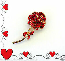 VALENTINES DAY RHINESTONE RED ROSE FLOWER BROOCH PIN GIFT FOR HER WOMEN MOM WIFE