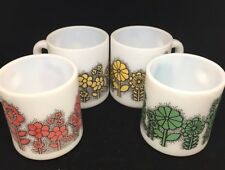 Vintage 70'S Flower MILK GLASS MUGS lot of 4 dotted flowers green red yellow