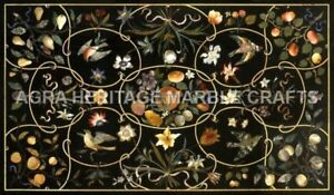 5'x3' Contemporary Marble Top Dining Table Inlay Bird Floral Work Decor H5098A