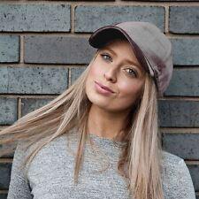 Womens Grey Velvet Baseball Cap