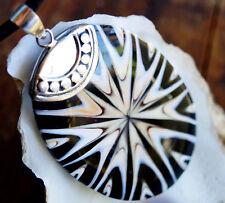 Riesig Groß Oval 6,6 x 4 cm Silber Kettenanhänger Muschel Intarsien Braun Lachs