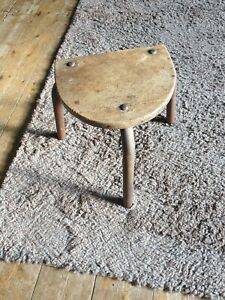 Old quirky wood & metal milking stool