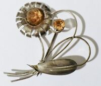broche ancienne bijou argent pierres citrine estampillée TRUART STERLING 3413