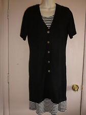 Vintage Dress Black Beige Knit Size S  Knee-Length Polyester Short Sleeve
