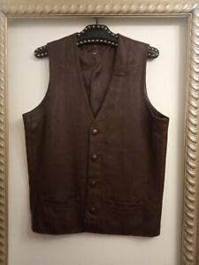 """Vintage brown leather Waistcoat Size 40"""" M - Ditsy Vintage"""
