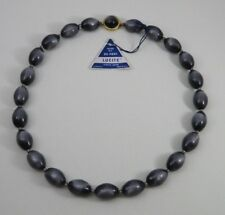 """VINTAGE NECKLACE OF THERMOSET MOONGLOW BEADS, WITH ORIG """"DU PONT"""" TAG, RARE"""