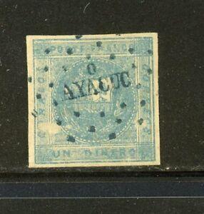 Peru Rare Classic Cancels Scott 3 Ayacucho (Blue)