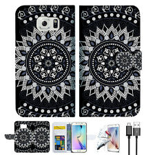 Black AZTEC TRIBAL Wallet Case Cover For Samsung Galaxy S7 -- A005
