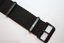 KHS Ersatzbänder Nato Armband Schwarz Nylon PVD beschichtet 20 mm KHS.EBNB.20
