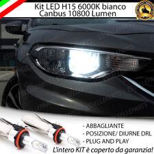 KIT LED H15 CANBUS LUCI DIURNE DRL + ABBAGLIANTI 6000K FIAT TIPO 10800 LUMEN